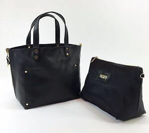 Innue Italian Black soft Leather Womens Tote Reversible Satin Handbag & Purse