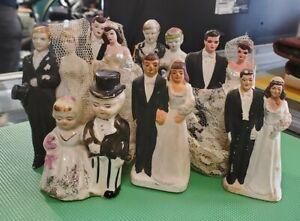 Lot of 7 Vintage Porcelain Bride & Groom Wedding Cake Topper Figurines