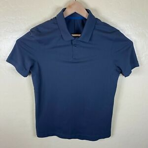 Lululemon Polo Shirt Mens Small Gray Solid Short Sleeve Athletic Active