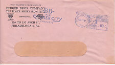 POSTAL HISTORY ADVERTISING METERED COM COVER 1949 BERGER BROS. CO TIN PLATE IRON