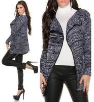 Cardigan donna lungo maglioncino aperto maglione cappottino pullover NUOVO