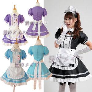 Damen Lolita Maid Servant Dress Mädchen Kleid Kellnerin Cosplay Kostüme