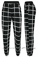 Ladies Black/White Check Pocket Trousers