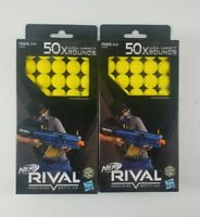 Lot of 2 Nerf Rival 50X(100) Rounds High Impact Yellow Balls Ammo Bullets HASBRO