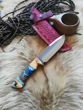 Personalized Knife Epoxy and Padauk Wood Handle, Natural Handmade Leather Case