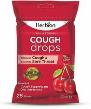 All Natural Cough Drops by Herbion, 25 count Cherry