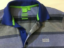 Hugo BOSS Mens Grey Blue Cotton Polo Shirt Modern Fit Size L