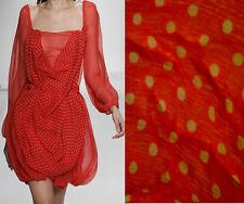 S-04999 Exquisite Italian 100% Silk Polka Dot Fabric In Red per Yard