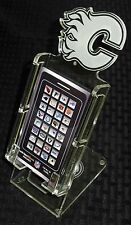 CALGARY FLAMES NHL NEW LICENSED CELL PHONE DESK STAND CLEAR PLEXIGLAS 12815 FR