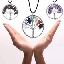 Tree of Life Pendant Necklace Crystal Necklace Gemstone Chakra Jewelry UK