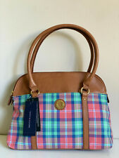 NEW! TOMMY HILFIGER PLAID BLUE GREEN BOWLER SATCHEL TOTE PURSE BAG $79 SALE