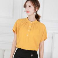 Chiffon Blouse Short Sleeve Top Summer Loose Fashion Women Shirt T-Shirt Ladies