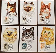 ROUMANIE Chats, cats, gatos,  Yvert N° 4076/81. 6 cartes maximums FDC 1er jour.