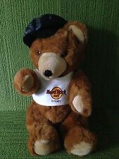 "HARD ROCK CAFE SYDNEY 20"" JOINTED TEDDY BEAR WEARING T-SHIRT & CAP VG - SCARCE"