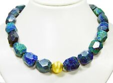 Beautiful Precious Stone Necklace in Azurite-Malachite in Free-form Polished