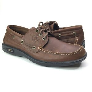 ECCO Mens Rubber Tech Water Repellant Brown Leather Boat Shoe EU 42 US 8-8.5