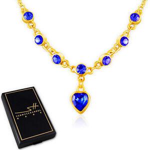 Collier Herzen, Halskette Kette Damen, Gelb-Gold, im Etui, Schmuckhandel Haak®