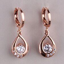 18k rose gold filled eternity White Topaz lady Top Fashion dangle earring