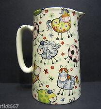 Heron Cross Pottery Crazy Farm Animals Chintz 2 Pint English Milk Jug