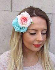 Turquoise Rose Blush Double Camellia Rose Pince Cheveux Fleur Rockabilly