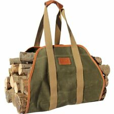 "Waxed Canvas Log Carrier Tote Bag,40""X19"" Firewood Holder,Fireplace Wood Stove"