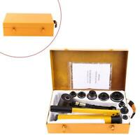 10 Ton 6 Die Hydraulic Knockout Punch Hand Pump Hole Tool Driver Kit 22-60mm