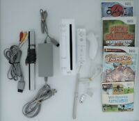 Nintendo Wii Console Bundle w/ 4 games,Cords,Remote,Nunchuk  - Cleaned & Tested