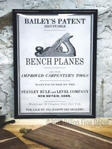 Stanley Bailey Vintage Repro Print, Poster Bedrock Decor Plane 1 2 3 4 5 H 1/2