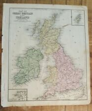 Antique Hand Colored MAP - GREAT BRITAIN & IRELAND/Common School Geography 1873