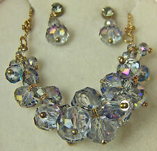 CAKE c.A.K.e. by Ali Khan NECKLACE & EARRING Set Light Blue Beads Cluster Drop