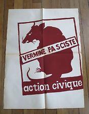 MAI 68 affiche d'époque Action Civique Vermine Fasciste rat