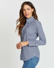 POLO RALPH LAUREN - Camicia donna slim fit in GINGHAM Colore Navy/white