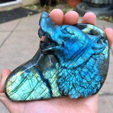 "3.9"" XL Carved Labradorite Wolf / Dog Spirit Totem Crystal Carving - USA SELLER!"