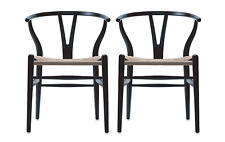 AUTHENTIC Wishbone Chair SET OF 2 - Black - DWR Design Within Reach Midcentury