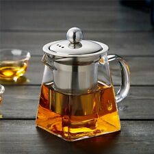 Heat Resistant Clear Glass Teapot Jug With Infuser Coffee Tea Leaf Herbal Pot UK