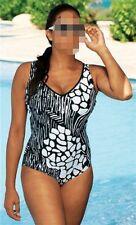 Damen Badeanzug - schwarz / weiß Design - florales Muster
