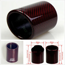 89mm Universal Car Real Carbon Fiber Cover Exhaust Muffler Pipe Case Red Glossy