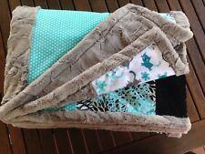 Luxury Adult Minky Blanket, Patchwork, Multicoloured, 120x150cm, Custom handmade