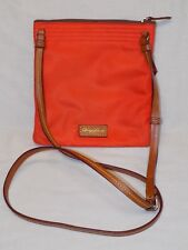 Dooney & Bourke Orange Canvas Crossbody Brown Leather Trim Handbag Purse Small