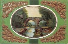 ST. PATRICK'S DAY HOLIDAY IRELAND WEIR BRIDGE EMBOSSED POSTCARD (c. 1910) 257