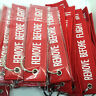 Red Embroidered Keyring Fabric Remove Before Flight Tag Bag Accessary Keychain