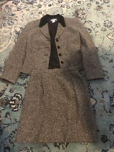 Pendleton Womens Vintage 2 Pc Suit Gray Black Lined Size 6 Petite