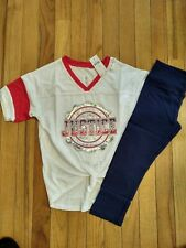 NWT Justice Girls Outfit Sequin Logo Football Tee/Capri Leggings Navy Size 7 10