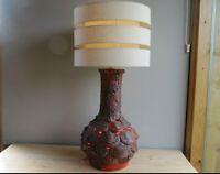 Large Vintage West German Red Fat Lava Lamp with Shade