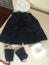 Made For American Girl Dolls Samantha's Plaid Cape Gaiters Muff And Hat