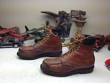 RED WING VINTAGE USA OXBLOOD LEATHER LACE UP ENGINEER PACKER CHOREBOSS BOOTS 12A