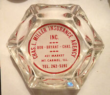 1960s Glass Ashtray AD Souv. MT. CARMEL Illinois Miller Insurance Market St.