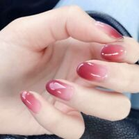 Red Pink Classic Natural False Nail Tips With Glue Manicure Tool Fake Nails
