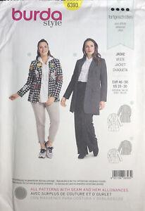 Burda 6393 Sewing Pattern Women Semi-Fitted  JacketPlus Large Sizes 20-30 Uncut