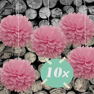 DIY PomPoms 10er Set 30cmØ,Hochzeit, Papierblume,PomPon aus Seidenpapier in rosa